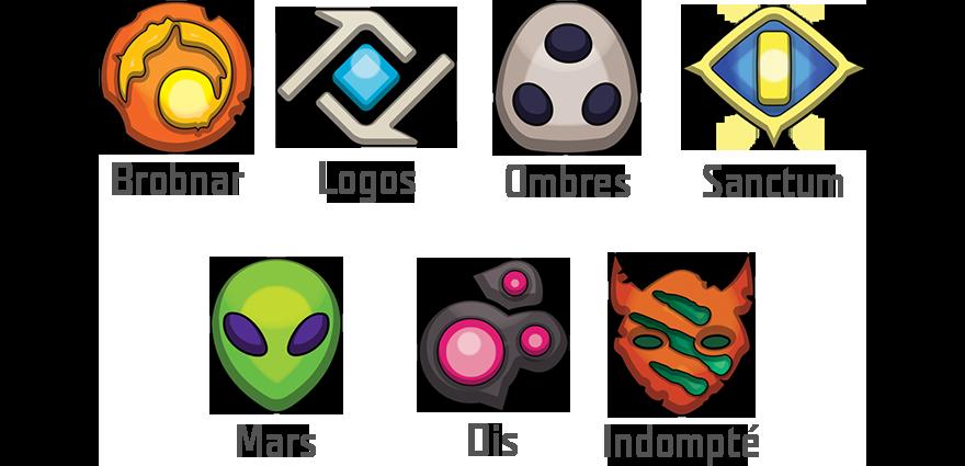 KeyForge - logos des 7 Factions - Fantasy Flight Games - jeux - Toulon - L'Atanière