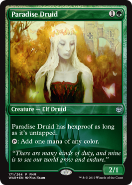 Paradise Druid - War of the Spark - FNM promo - Magic - Wizards of the Coast - jeux - Toulon - L'Atanière