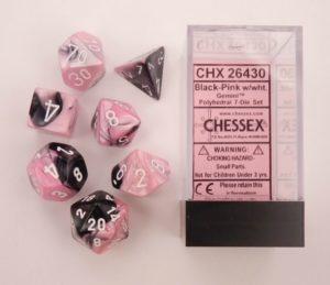 Set de 7 dés 7D Gemini Black/Pink w/White