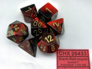 Set de 7 dés 7D Gemini Black/Red w/Gold