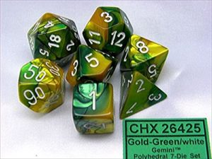 Set de 7 dés 7D Gemini Gold/Green w/White