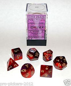 Set de 7 dés 7D Gemini Purple/Red w/Gold