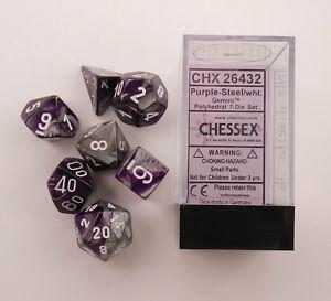 Set de 7 dés 7D Gemini Purple/Steel w/White