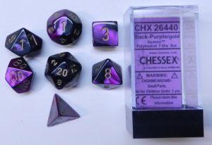 Set de 7 dés 7D Gemini Black/Purple w/Gold