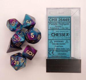 Set de 7 dés Chessex 7D Gemini : Purple/Teal w/Gold