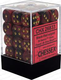 Set de 36 dés 6Chessex Gemini : Black/Red