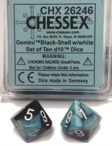 Set de 10 dés 10 Chessex Gemini: Black/Shell