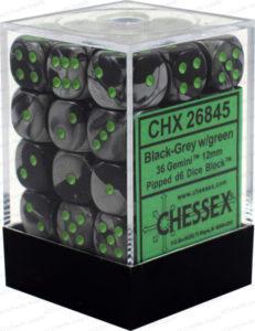 Set de 36 dés 6Chessex Gemini : Black/Grey