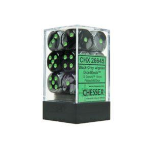 Set de 12 dés à 6 faces 12D6 Gemini Black/Grey w/Green