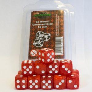 Set de 15 dés 6 Marbled Pearlized : Rouge