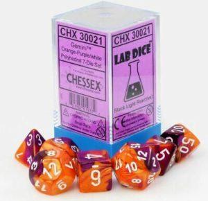 Set de 7 dés 7D Gemini Orange/Purple w/White (Lab Dice)