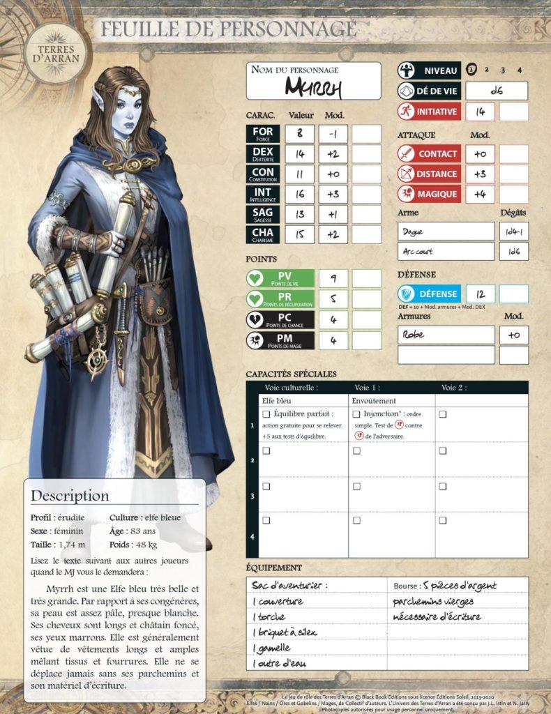 fiche de personnage Myrrh Elfes initiation au jeu d aventures dans les Terres d Arran Black Book | Jeux Toulon L'Atanière