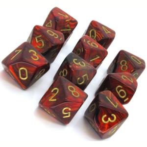 Set de 10 dés 10 Chessex Scarab : Scarlet