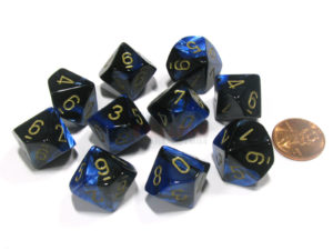 Set de 10 dés 10 Chessex Gemini: Black Blue