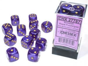 Set de 12 dés 6 faces 12D6 Borealis : Royal Purple