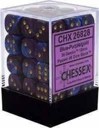 Set de 36 dés 6faces 36D6 Chessex Gemini : Blue/Purple