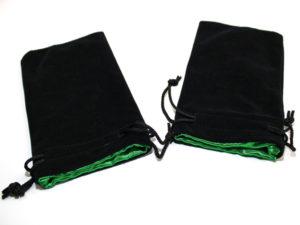Bourse Velours Noir 20x12 cm : Satin Vert