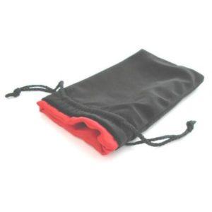 Bourse Velours Noir 20x12 cm : Satin Rouge