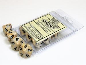 Set de 10 dés 10 Chessex Marble: Ivory