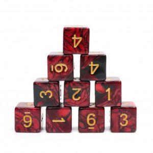 Set de 10 dés à 6 faces : Red/Black w/Gold