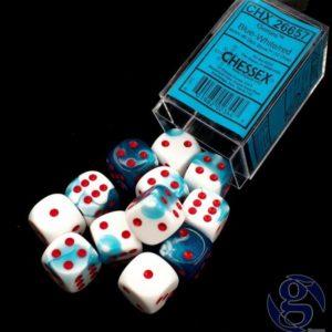 Set de 12 dés 6 faces Chessex Gemini : Astral Blue/White w/Red