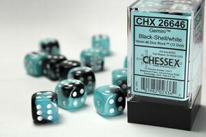 Set de 12 dés 6 faces Chessex Gemini : Black/Shell w/White