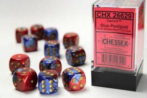 Set de 12 dés 6 faces Chessex Gemini : Blue/Red w/Gold
