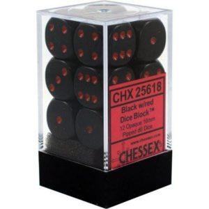 Set de 12 dés faces Chessex Opaque : Black w/Red