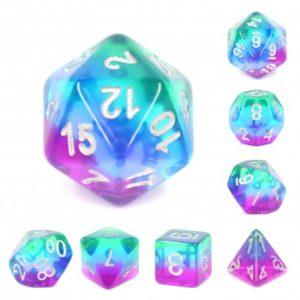 Set de 7 dés : Blue Aurora w/White