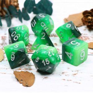 Set de 7 dés : Green Gradients w/Silver