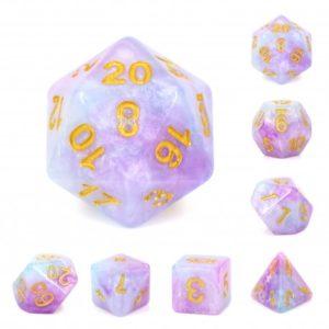 Set de 7 dés : Purple Marble w/Gold